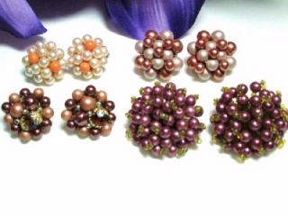 Pearl Pink Purple Coral Beaded Clip Gold Silver Tone Earrings