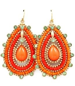 Stunning Gold Tone Bright Colored Orange and Coral Red Beaded Tear