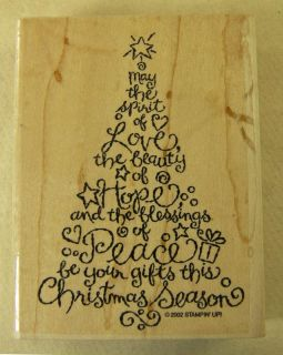 Stampin Up Rubber Stamp Christmas Tree Made of Words Love Hope Peace 4