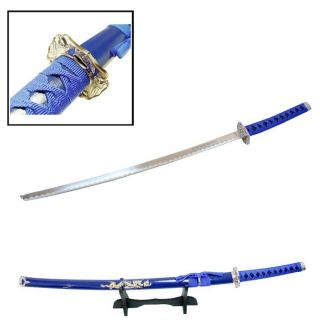 40 Katana Sword Blue Dragon Carbon Steel w Stand Collectible Samurai