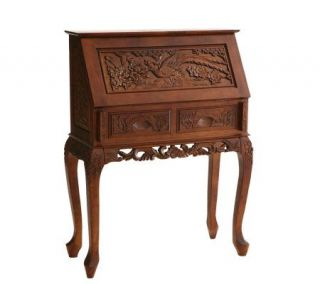 Handcarved Drop Front Desk with Carved Apron  Cherry Finish —
