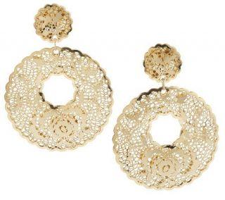 Arte d Oro Round Floral Filigree Drop Earrings 18K Gold —