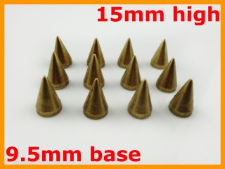 Tall Screwback Bronze Metal Cone Spike Studs Jacket Denim DIY