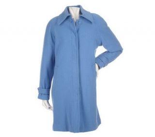 Centigrade Wool Blend Button Front Balmacaan Swing Coat —