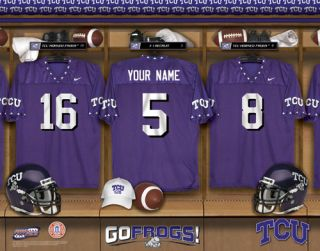 TCU Horned Frogs Personalized Jersey Locker Room Print