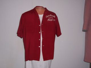 50S BOWLING SHIRT V F D CHAMPS CONNELLSVILLE SZ ML MCGREGOR USA RAYON