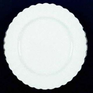 Spode Corinth Fluted White Dinner Plate w Platinum Trim