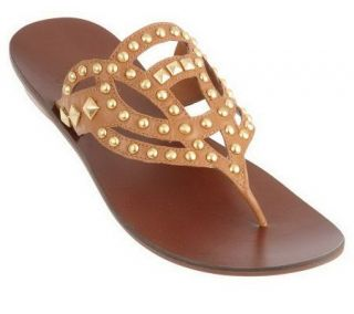 As Is B. Makowsky Leather Thong Sandals w/Stud Grommet Detail