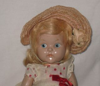 1948 50 VOGUE 8 HARD PLASTIC PAINTED EYE STRUNG GINNY DOLL a