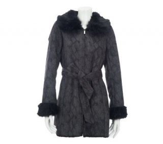 Dennis Basso Python Print Faux Suede Coat with Faux Fur Trim   A229742