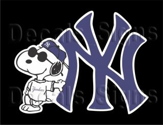 Snoopy Yankees Joe Cool Snoopy Decal Blue 4 41e