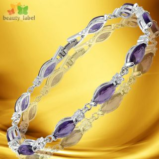 Fashion Lady Jewelry Purple Amethyst White Gold Gold GP Bracelet Hand