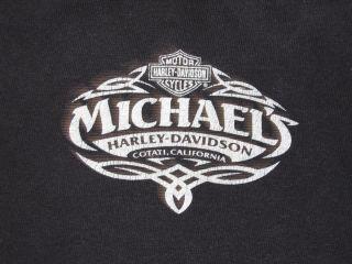 SZ M MICHAELS HARLEY DAVIDSON COTATI CALIF LONG SLEEVE BLACK T SHIRT