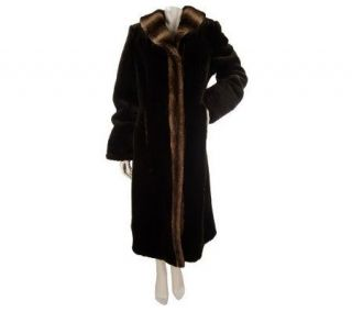 Dennis Basso Full Length Faux Fur Coat with Faux Chinchilla Trim