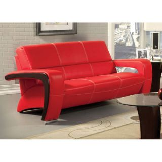 PC Set Modern Red Black Sofa Couch Loveseat Chair Unique Faux