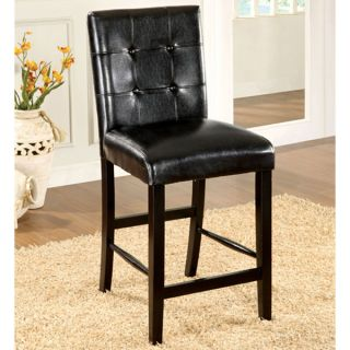 Atlas Solid Wood Black Finish Counter Height Chairs Set of 2