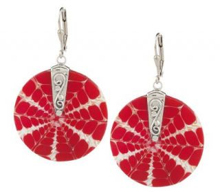 As IsLeeSands Round Shell Red &White Lever Back Earrings —