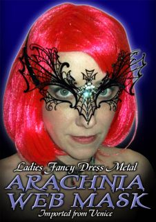 LADIES FANCY DRESS METAL ARACHNIA SPIDER WEB MASK
