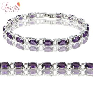 CHARMING GIFT FASHION JEWELRY PURPLE 18K WHITE GOLD PLATED LADY