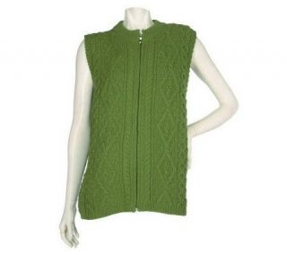 Aran Craft Merino Wool Zip Front Vest —