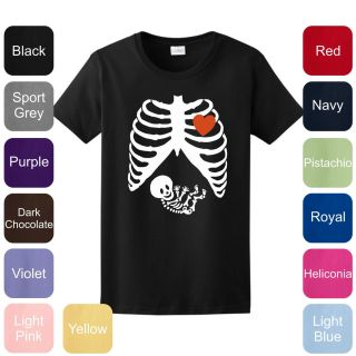 Pregnant Skeleton Halloween Costume Ladies T Shirt Funny Maternity