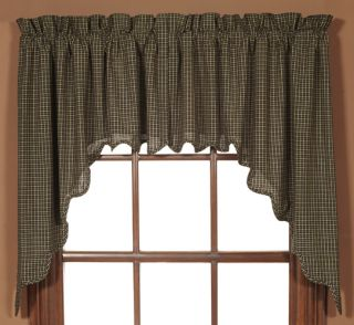 Kettle Grove Window Swag Black Tan Homespun Plaid New