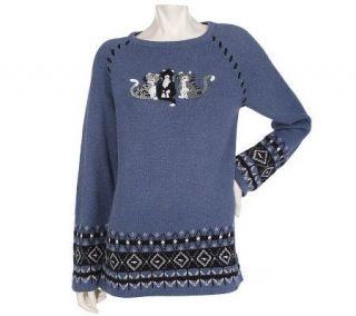 Quacker Factory Purr Fect Friends Long Sleeve Heather Sweater