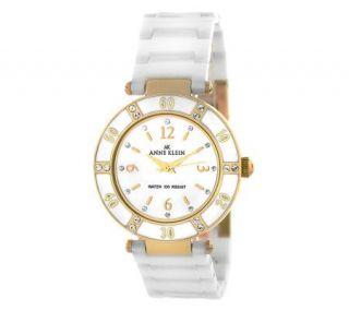 Anne Klein Ladies Swarovski Crystal Goldtone Bracelet Watch   J307952
