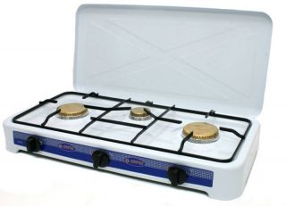 Propane Cooktop 3 Burner Gas Stove Range w Cover White