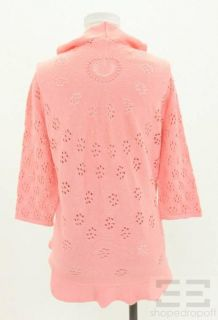 Valentino Pink Cotton Eyelet Tie Front Cardigan Size Large