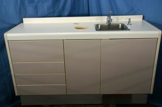 Dental Office Exam Room Cabinet Counter with Scrub Sink and Soap