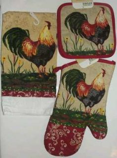 ROOSTER COUNTRY KITCHEN TOWEL POT HOLDER OVEN MITTEN COOKING 4 PIECE