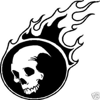 Skull with Flames Vinyl Window Decal Bumper Sticker