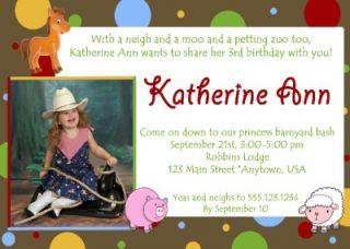 Custom Photo Birthday Invitation Cowboy Farm Barnyard