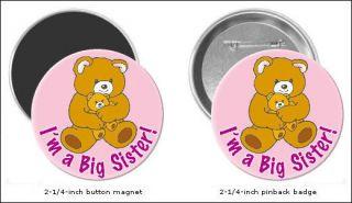 Big Sister and Brown Bear Refrigerator Magnet Pin Badge