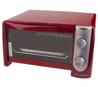 CooksEssentials Stainless Steel Red 4 Slice Toaster Oven with Broiler