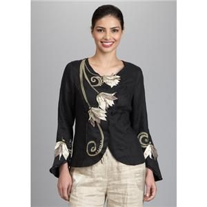 Covelo Tulip Button Down Black Multi Linen Silk Jacket