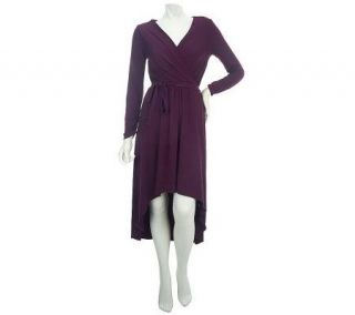 LOGO by Lori Goldstein Print or Solid Knit Dress w/High Low Hem