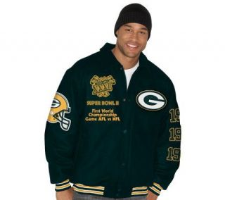 NFL Packers Super Bowl Commemorative Wool Varsity Jacket —