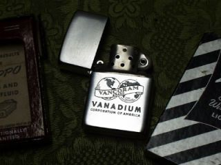 Vintage 1955 Zippo Lighter in Original Box NOS Vancoram Brand Vanadium