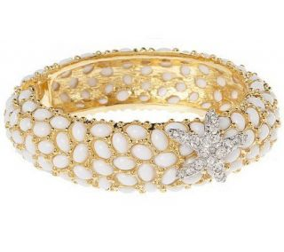 Kenneth Jay Lanes Neptune Cabochon Bangle Bracelet —