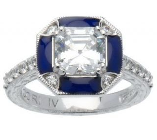 Tacori IV Diamonique Epiphany Enamel Framed Asscher Ring —