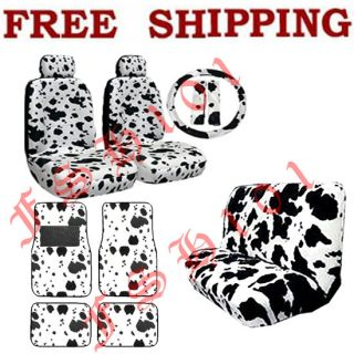 New Set Black White Cow Print Car Seat Covers Steering Wheel Cover