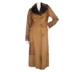 Dennis Basso Faux Suede Full Length Coat with Toggle Closure