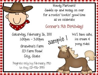Personalized Cowboy Birthday Party Invitations