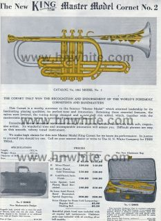 1946 H N White King Master Silver Tone Model 1065 Pro BB Cornet Near