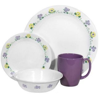 12 PC Corelle Forget Me not Dinnerware Set Plate Bowl