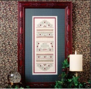 CRANBERRY SAMPLER & Silver Charms Beads Sweetheart Tree Cross Stitch