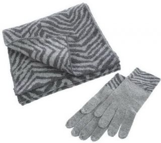 Precious Fibers Cashmere Animal Print Gloves and Scarf Set —