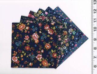 Charm Pack 24 5 Quilt Square Blocks Concord Floral Dark Blue